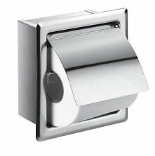 Square Loo Roll Toilet Tissue Paper Holder Recessed Concealed Stainless Steel