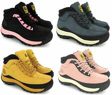 LADIES SAFETY WOMENS LEATHER STEEL TOE CAPS HIKING ANKLE BOOTS SHOES SIZE NEW