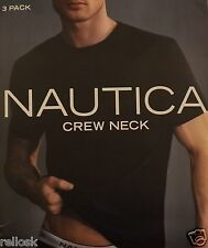 3 NAUTICA MENS 100% COTTON BLACK CREW-NECK T-SHIRTS UNDERSHIRTS S M L XL XXL NIP