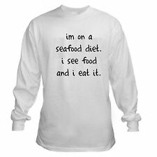 SEAFOOD DIET SEE FOOD EAT FUNNY COLLEGE LONG SLEEVE T-SHIRT