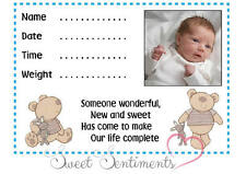 I LOVE MY BEAR BOY'S NURSERY PRINT - New Baby - Name, Date, Weight & Time - A4