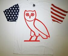 Ovo Owl Red American Flag Sleeve T-Shirt Drake Nothing Was The Same NWTS