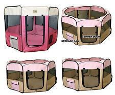 New Dog Pet Cat Playpen Kennel Exercise Pen Crate Fence - Pink