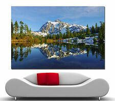 Canvas Prints Fine Wall Art Lake Water Mountains Trees Photo Print Colorful 2