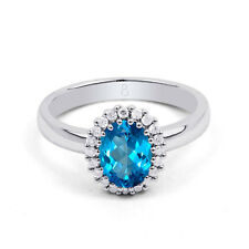Natural 18K White Gold Blue Topaz & Diamond Halo Engagement Ring 0.16ct 2.5mm