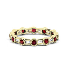 18ct Yellow Gold Ruby & Diamond Full Eternity Ring Band 0.42ct 3mm