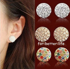 18K Rose /White Gold Gp Swarovski Crystal Round lady Studs Earrings