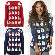 Ladies Womens Snowman Rows One Present Christmas Jumper Knitted Cute Top XmasX28
