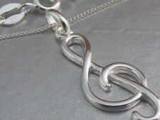 Genuine 925 Sterling Silver Treble Clef / Music Note Pendant Necklace