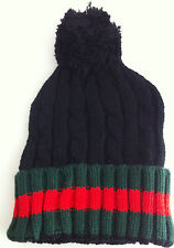 DESIGNER WINTER FASHION CABLE KNIT WOOLY BOBBLE HAT BEANIE              STRIPED