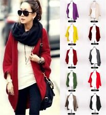 Women Knitted Cardigan Shawl Coat Batwing Sleeve Outwear Sweater Solid Wild