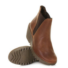 Womens Fly London Yoss Camel Leather Wedge Heel Chelsea Ankle Boots Size 3-8