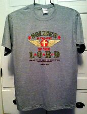 SOLDIER IN THE ARMY OF THE LORD ROMANS 8:14 CHRISTIAN T-SHIRT GRAY S M L XL 2XL