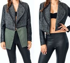 faux leather arm canvas back wool texture Sweater front detachable 2 way jacket