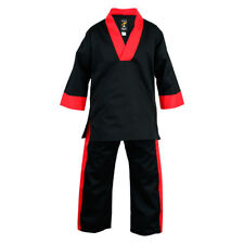 Playwell Black/Red V Neck Uniform Childrens Kids Martial Arts Suits Freestyle