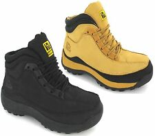 NEW MENS LEATHER SAFETY BOOTS TRAINERS STEEL TOE CAP ANKLE WORK SHOES SIZE 3-13