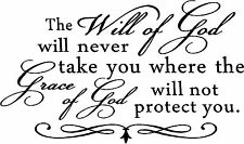 WILL OF GOD GRACE PROTECT Decal Wall Sticker Art Vinyl Decor Quote RELIGIOUS