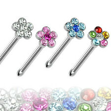 316L Surgical Steel Nose Stud with Multi-Gem Paved Flower Top