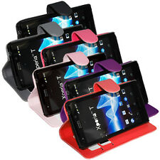 Soft PU Leather Wallet Flip Case Cover For Sony Xperia T LT30p