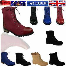 WOMENS LADIES MILITARY ARMY LOW HEEL COMBAT WORKER LACE UP ANKLE BOOTS SIZE 3-8
