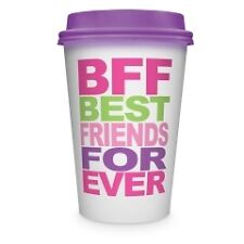 Double Wall Ceramic Travel Mug w Silicone Lid - Sayings BFF, Morning, Coffee etc
