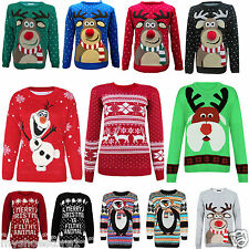 LADIES WOMEN MENS XMAS CHRISTMAS PENGUIN REINDEER RETRO JUMPER SWEATER PLUS SIZE