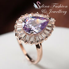 18K Rose Gold Plated Made With Swarovski Crystal Gorgeous Teardrop Purple Ring