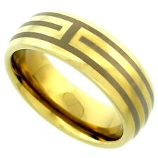 Tungsten Carbide 8 mm Domed Wedding Band Ring for Him & Her Gold Tone Etched Str