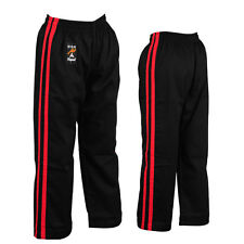 Playwell Black W/ 2 Red Stripes Full Contact Trousers Bottoms Pants Kick Boxing