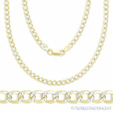Cuban Curb Sterling Silver 14k Yellow Gold Men's 4.3mm Link Chain Necklace Italy