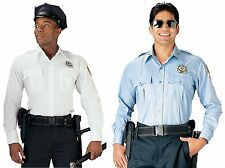 Police & Security Uniform Shirt Light Blue or White Long Sleeve Work Shirts S-2X