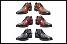 New Men's Encore by Fiesso Lace Up Leather Dress Shoe Black, Brown,Tan FI 3145