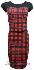NEW WOMENS LADIES TARTAN CHECK PRINT TAILORED BELTED BODYCON DRESS SIZE 8-16