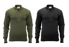 GI Style 5 Button Acrylic Sweaters - Vintage Classic Military Apparel - Black OD