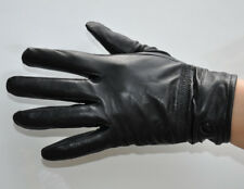 Men's Black Thin Genuine Sheep Leather Wrist Gloves Driving Gloves M-005