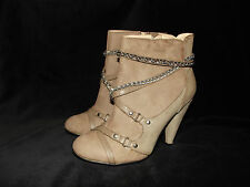 FAB NEW LADIES STONE NUDE FAUX LEATHER CHAIN STILETTO ANKLE SHOE BOOTS SZ 2.5 -8