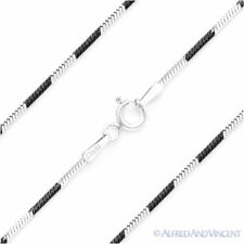 Italy 925 Sterling Silver Black Rhodium 1.1mm Snake Link Italian Chain Necklace