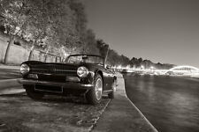 Poster of Triumph TR6 HD British Sports Car Print B&W