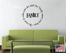 Vinyl Wall Decal Saying Quote Decor Family Be True to Who You Are Name Bear FA3