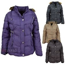 LADIES PADDED PUFFER JACKET WOMENS FAUX FUR HOODED BUCKLE COAT 4 COLOURS 12-16