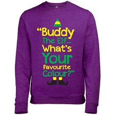 BUDDY THE ELF WHATS YOUR FAVOURITE COLOUR MENS FUN CHRISTMAS SWEATSHIRT JUMPER
