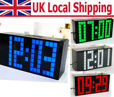 Digital Large Big Jumbo LED Snooze Wall Desk Alarm With Thermometer Indoor Clock