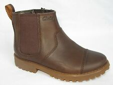 BNIB Clarks Diggy Dan Boys Brown Leather Boots F & G Fitting