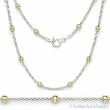 925 Italy Sterling Silver 14k Gold Ball Bead Popcorn Link Italian Chain Necklace