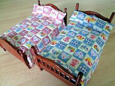 Dolls House Quilted Bed Set - Bed Spread & 2 x Matching Pillows - Choose Design