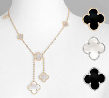 New Magic Quatrefoil Lariat Necklace Silver Gold Dangling Mother of Pearl Onyx