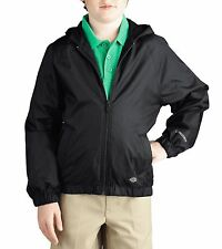 Dickies Boys Hooded Water Repellant Nylon Ripstop Flannel Lined Zip Front Jacket