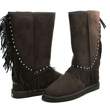 Montana West Western Fringe Brown Suede Winter Boots