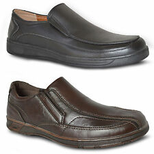 Mens New Brown Work/ Casual Slip On Elasticated Comfortable Formal Shoes Size UK