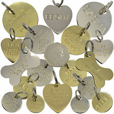 Dog Tag Cat Pet ID Disc Engraved Personalised Brass Silver Heart Bone 9 Sizes